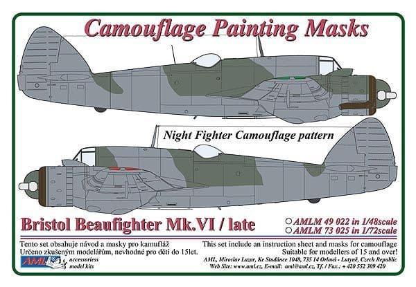 AML 1/72 Bristol Beaufighter Mk.VI / Late Night Fighter Camouflage Pattern Painting Masks # M7325
