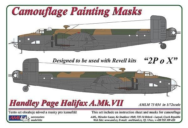 """AML 1/72 Handley-Page Halifax A.Mk.VII """"2P o X"""" Camouflage Painting Masks # M7334"""