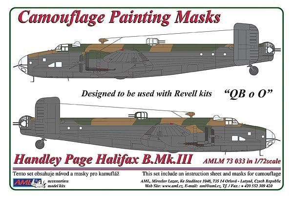 "AML 1/72 Handley-Page Halifax B.Mk.III ""QB o O"" Camouflage Painting Masks # M7333"