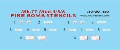 AOA Decals 1/32 Mk.77 Mk.4/5/6 Fire Bomb Stencils (2) # 32W02