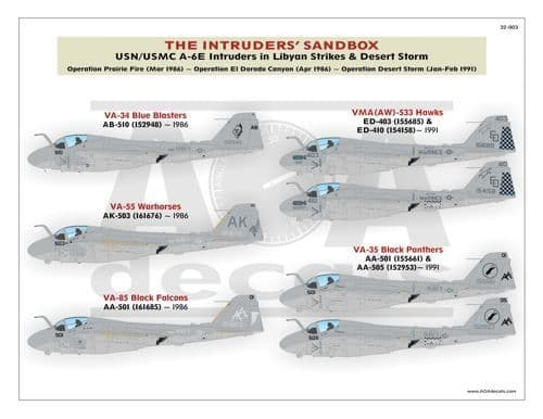AOA Decals 1/32 The Grumman Intruders' Sandbox # 32003