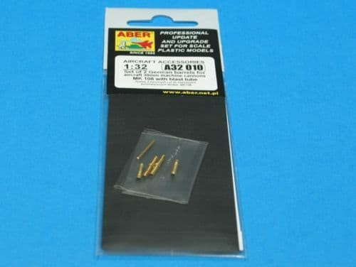 Aber 1/32 Set of 2 German Barrels for Aircraft 30mm Machine Cannons MK 108 with Blast Tube # 32010