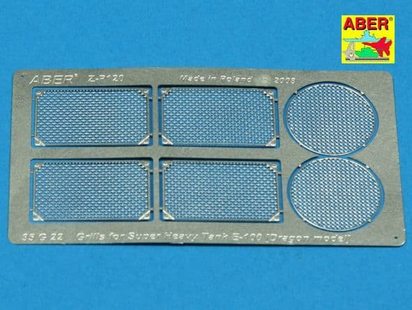 Aber 1/35 Grilles for the Super Heavy Entwicklungsfahrzeug E100 Detailing Set # 35G22