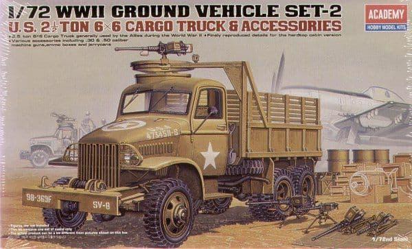 Academy 1/72 WWII Ground Vehicle Set-2 U.S. 2 1/2 Ton 6 x 6 Cargo Truck & Accessories # 13402