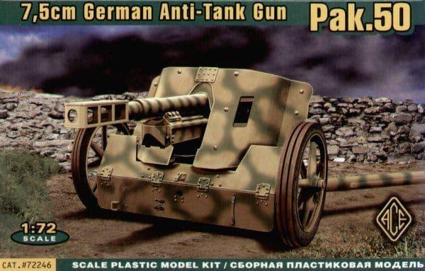 Ace 1/72 7.5cm PAK 50 German Anti-tank Gun # 72246