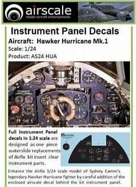 Airscale 1/24 Hawker Hurricane Mk.I Full Instrument Panel # AS24HUA