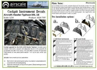 Airscale 1/24 Hawker Typhoon Mk.Ib Instrument & Placard Upgrade Set # AS24TIFF