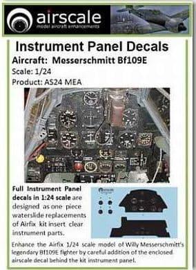 Airscale 1/24 Messerschmitt Bf-109E Full Instrument Panel # AS24MEA