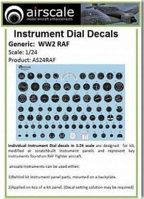Airscale 1/24 RAF WWII Generic Instruments # AS24RAF