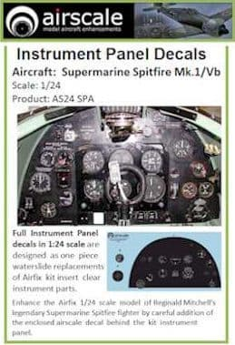 Airscale 1/24 Supermarine Spitfire Mk.I/Mk.Vb Full Instrument Panel # AS24SPA