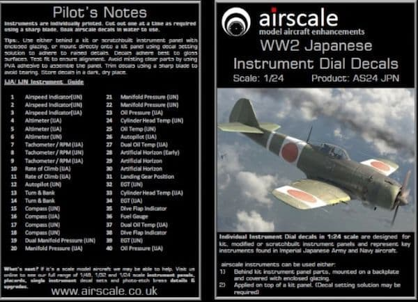 Airscale 1/24 WWII Japanese Cockpit Instrument Decals # AS24JPN