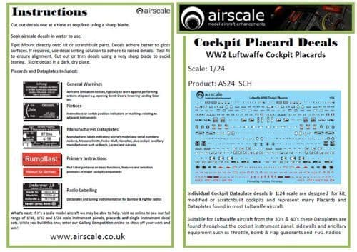 Airscale 1/24 WWII Luftwaffe/German Cockpit Placards # AS24SCH