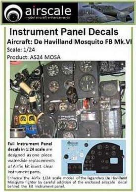 Airscale 1/24 de Havilland Mosquito NF.II / FB Mk.VI Full Instrument Panel # AS24MOSA