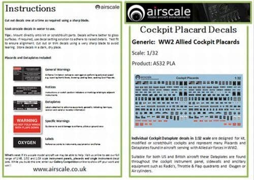 Airscale 1/32 Cockpit Placards & Dataplates # AS32PLA