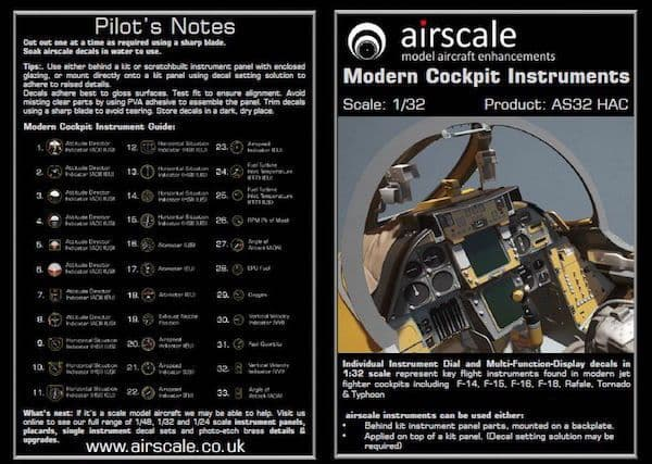 Airscale 1/32 Modern Jets Cockpit Instrument Decals # AS32HAC