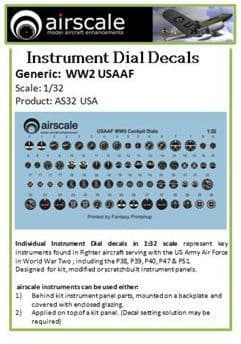 Airscale 1/32 USAAF Instruments # AS32USA