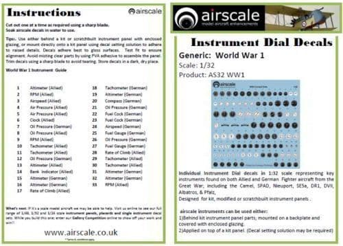 Airscale 1/32 WWI Allied & German Instruments # AS32WWI