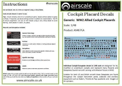 Airscale 1/48 Generic WWII Allied Cockpit Placards & Dataplates # AS48PLA