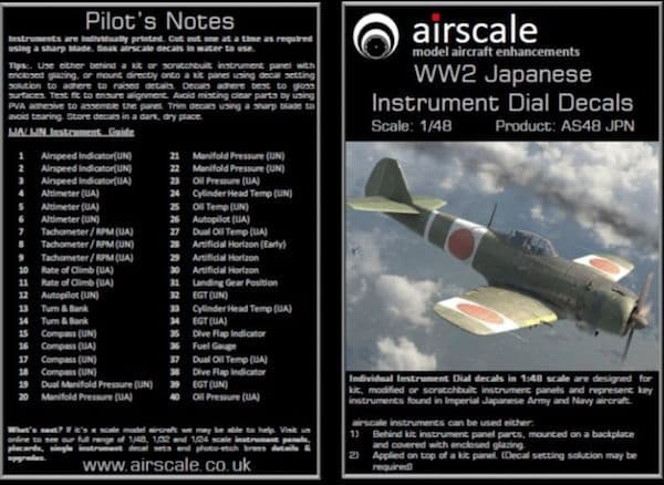 Airscale 1/48 WWII Japanese Cockpit Instrument Decals # AS48JPN