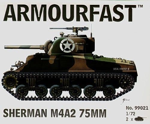 Armourfast 1/72 M4A2 Sherman 75mm x 2 # 99021