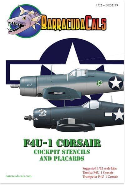 Barracuda Decals 1/32 Vought F4U-1 Corsair Cockpit Stencils & Placards # 32129