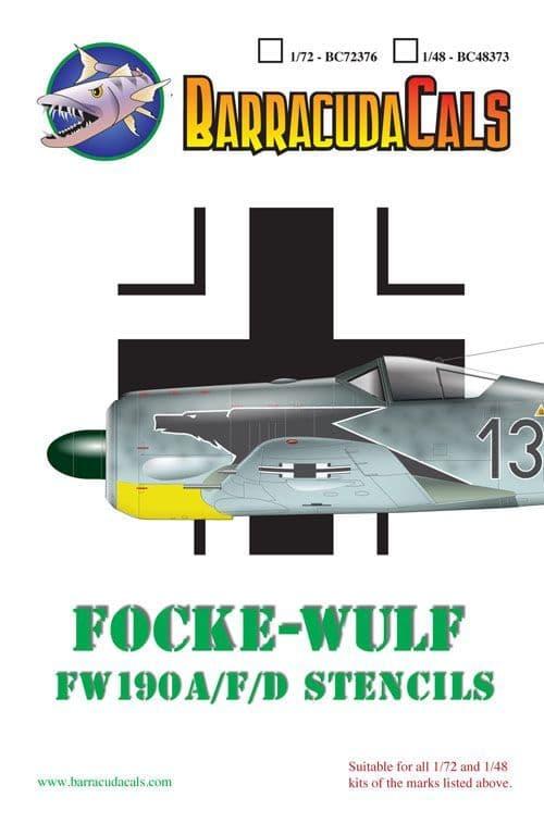 Barracuda Decals 1/48 Focke-Wulf Fw-190A, Fw-190F, Fw-190D Airframe Stencils # 48373