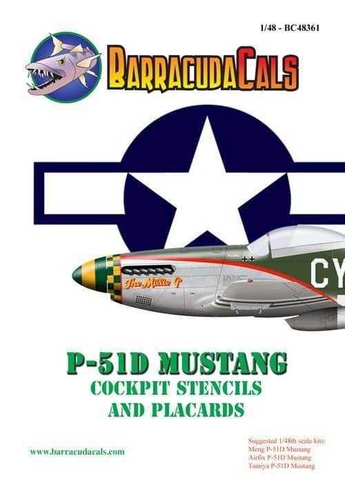 Barracuda Decals 1/48 North-American P-51D Mustang Cockpit Stencils & Placards # 48361