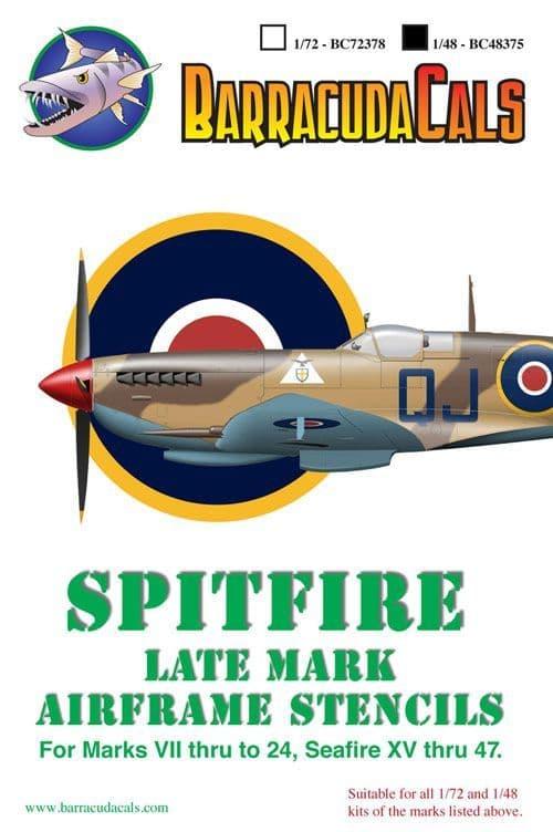 Barracuda Decals 1/48 Supermarine Spitfire Later Marks Airframe Stencils # 48375