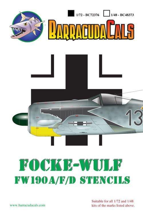 Barracuda Decals 1/72 Focke-Wulf Fw-190A, Fw-190F, Fw-190D Airframe Stencils # 72376