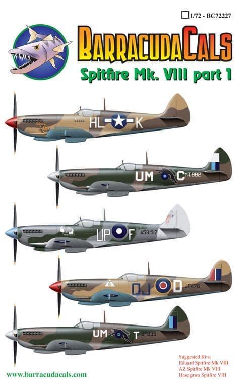 Barracuda Decals 1/72 Supermarine Spitfire Mk.VIII Part 1 # 72227