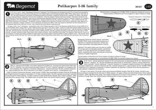 Begemot 1/48 Polikarpov I-16 # 4821