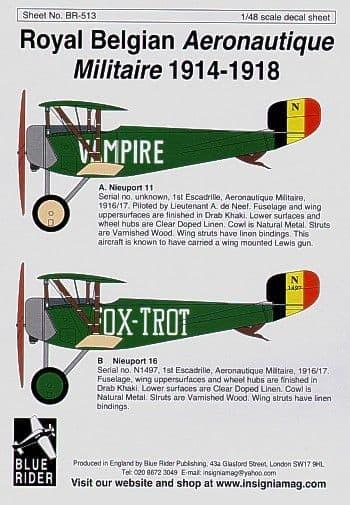 Blue Rider 1/48 Belgian Air Force 1914-18 # 513
