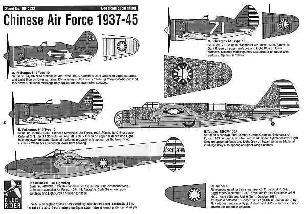 Blue Rider 1/48 Chinese Air Force 1937-45 Polikarpov I-16 # 523