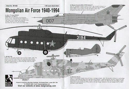 Blue Rider 1/48 Mongolian Air Force 1940-1994 # 602