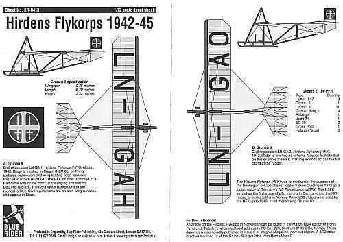 Blue Rider 1/72 Hirdens Flykorps 1942-1945 # 413