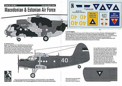 Blue Rider 1/72 Macedonian (1998) & Estonian Air Force (1997-98) # 812
