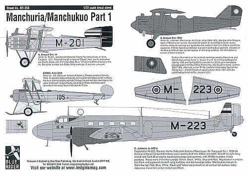Blue Rider 1/72 Manchurua/Manchukuo Part 1 # 256