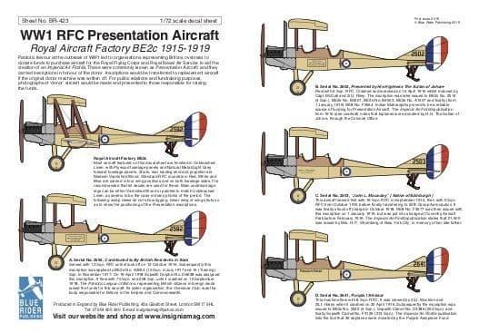 Blue Rider Decals 1/72 WWI Presentation Aircraft: Royal Aircraft Factory BE.2c 1915-1919 # 423