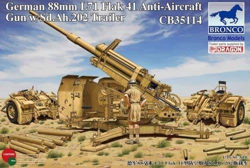 Bronco 1/35 German 88mm L71 Flak 41 Anti-Aircraft Gun with Sd.Ah.202 Trailer # CB35114