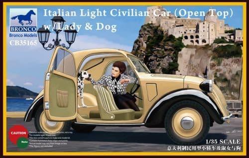 Bronco 1/35 Italian Light Civilian Car (Open Top) with Lady & Do