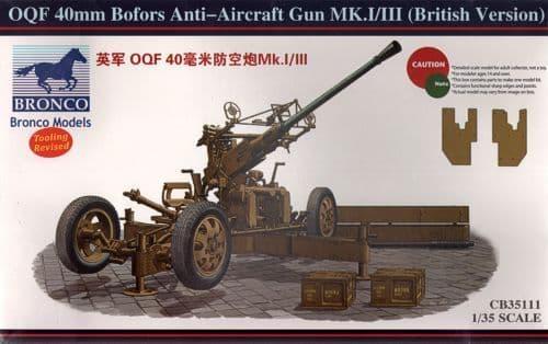 Bronco 1/35 OQF 40mm Bofors Anti-Aircraft Gun Mk.I/III(British Version) # CB35111