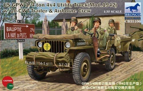 Bronco 1/35 US GPW 1/4 Ton 4x4 Utility Truck (Mod. 1942) w/ 10 CWT Trailer & Airborne Crew # CB35106
