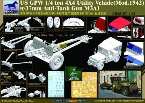 Bronco 1/35 US GPW 4x4 Light Utility Truck with 37mm Anti-Tank Gun M3A1 # CB35107