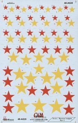 CAM 1/48 Soviet Red Stars National Insignia - 7 Sizes # 48A28