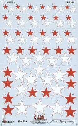 CAM 1/48 Soviet Red Stars National Insignia - 7 Sizes # 48A29