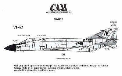 CAM Decals 1/32 McDonnell F-4J Phantom # 32002