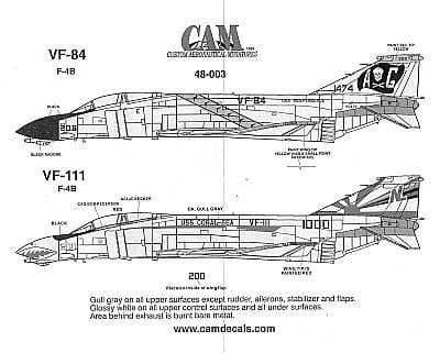 CAM Decals 1/48 McDonnell F-4B Phantom # 48003