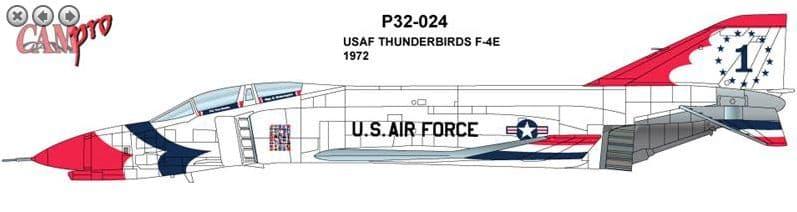 CAM PRO 1/32 McDonnell F-4E Phantom USAF Thunderbirds 1967 # 3224