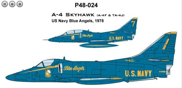 CAM PRO 1/48 Douglas A-4/Ta-4 Skyhawk USN Blue Angels 1978 Flight Demonstration Team # 4824