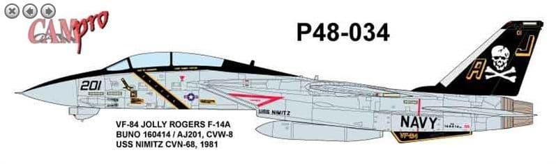 CAM PRO 1/48 Grumman F-14A VF-84 Jolly Rogers 1981 USS Nimitz # 4834